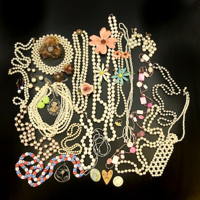 Vintage Costume Jewelry Including Flower Brooches and Earrings