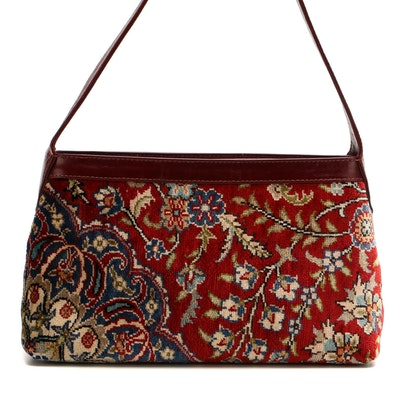 Carpet Shoulder Bag with Burgundy Leather Trim