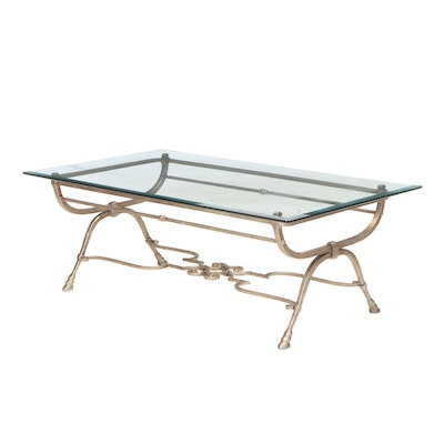 Wrought Iron Coffee Table with Hoven Feet and Beveled Glass