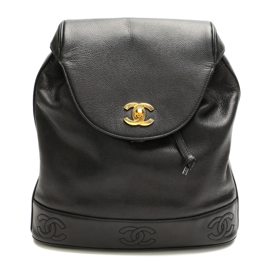 Chanel Triple CC Chain Backpack in Black Caviar Leather