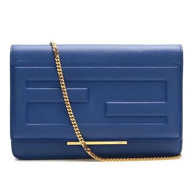 Fendi Vitello Tube Wallet in Blue Leather Chain Strap