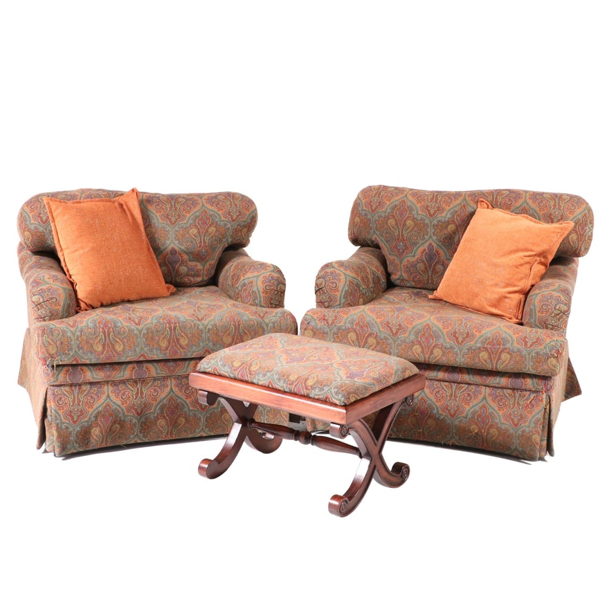 Vanguard Paisley Upholstered Lounge Chairs with Curule Stool