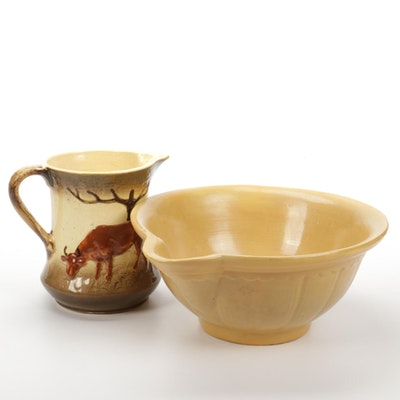 Hand-Painted Ceramic Creamer and Yellow Glazed Mixing Bowl