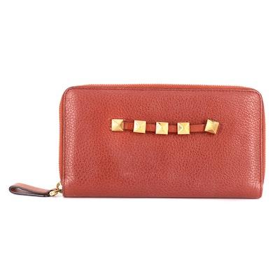 Valentino Garavani Red Grained Leather Zip Wallet