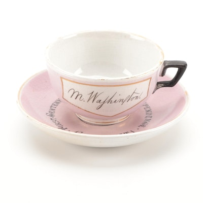 Glasgow Pottery Co. American Centennial Ceramic Teacup and Saucer, Late 19th C.