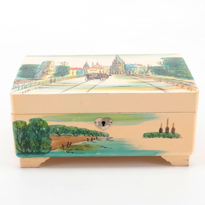 Japanese Royal Lacquered  Musical Jewelry Box, Mid-20th Century