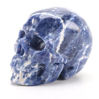 Carved Sodalite Skull Figurine