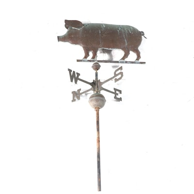 Cast Iron Weathervane with Patinated Copper Colored Pig