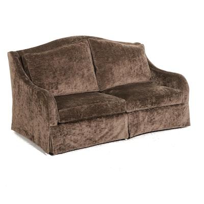 Brown Crushed Velvet Upholstered Camelback Loveseat