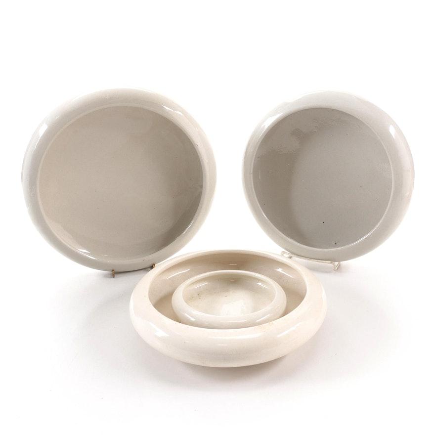 Glazed Ceramic Low Bowl Planters, Mid-20th Century