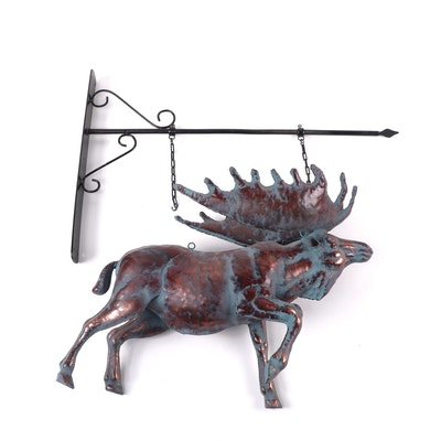 Painted Copper Moose Weathervane Figure with Wall Bracket