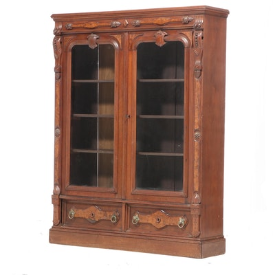 Victorian Renaissance Revival Walnut and Burl Walnut Bookcase, Late 19th Century