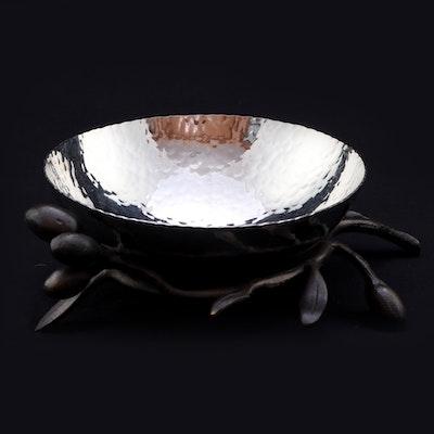 Michael Aram Hammered Silver-Tone Metal Olive Branch Nut Bowl