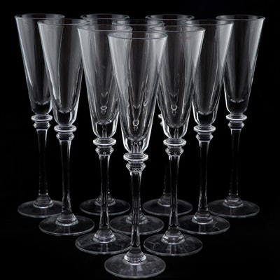"""Pottery Barn """"Claro"""" Trumpet-Shaped Glass Champagne Flutes"""