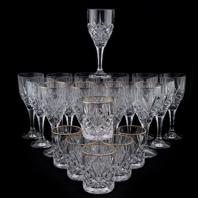 Fan and Diamond Motif Crystal Goblets and Old Fashioned Glasses