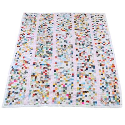 Hand-Pieced Twin Patchwork Quilt, 20th Century
