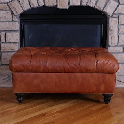 Arhaus Cambridge Collection Tufted Leather Storage Ottoman