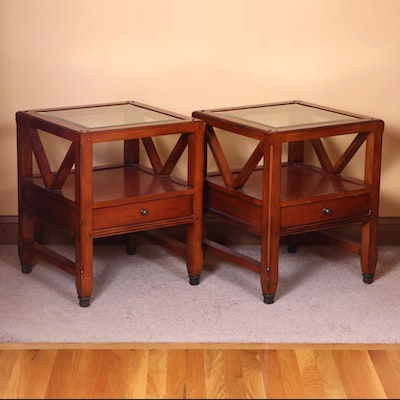 Arhaus Beveled Glass Top Cherry Stained End Tables