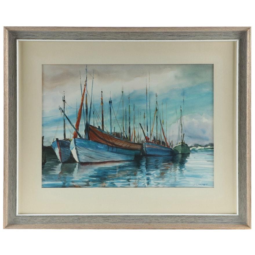 J.L. Hobt Nautical Watercolor, Late 20th Century