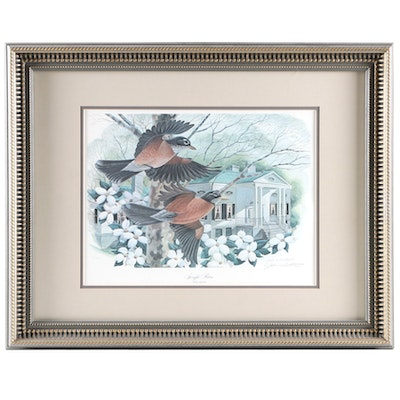 """John A. Ruthven Offset Lithograph """"Springfest Robins,"""" Late 20th Century"""