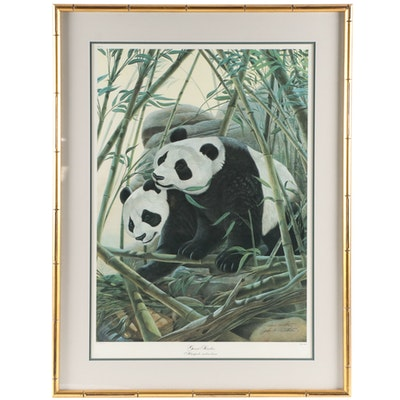 "John A. Ruthven Offset Lithograph ""Giant Pandas,"" Late 20th Century"