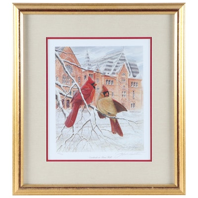 """John A. Ruthven Offset Lithograph """"Cardinals at Music Hall,"""" Late 20th Century"""