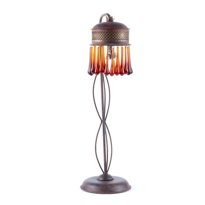 Arhaus Art Nouveau Style Patinated Metal Table Lamp with Amber Glass