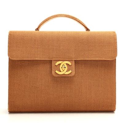 Chanel CC Large Raffia Briefcase
