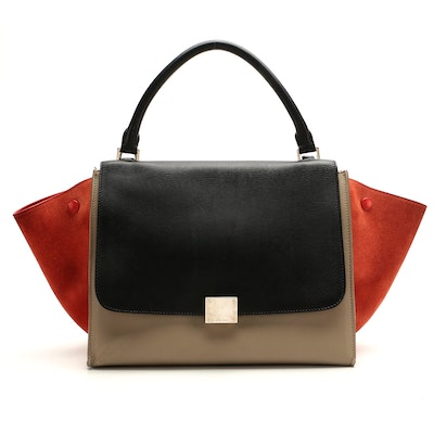 Céline Tricolor Small Trapeze Bag in Suede and Leather