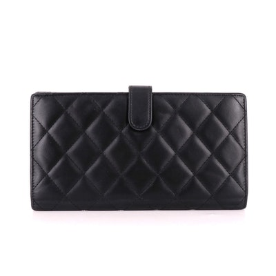 Chanel Cambon Ligne Long Wallet in Quilted Black Lambskin Leather