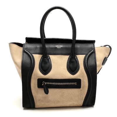 Céline Mini Luggage Suede and Leather Tote