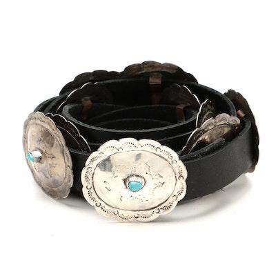 Southwestern Style Turquoise Concho and Black Leather Belt