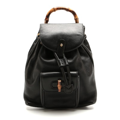 Gucci Small Bamboo Backpack in Black Leather