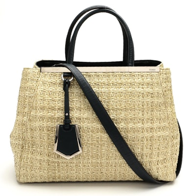 Fendi 2 Jours Raffia and Navy Leather Two-Way Bag