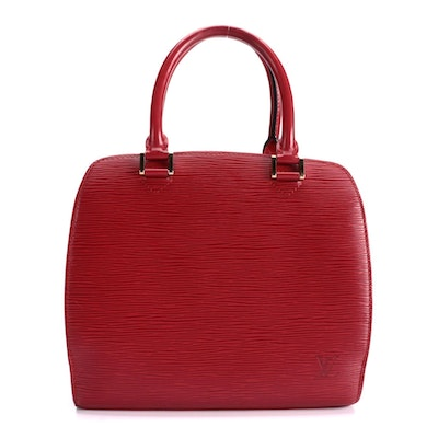 Louis Vuitton Pont Neuf Handbag in Castilian Red Epi and Smooth Leather