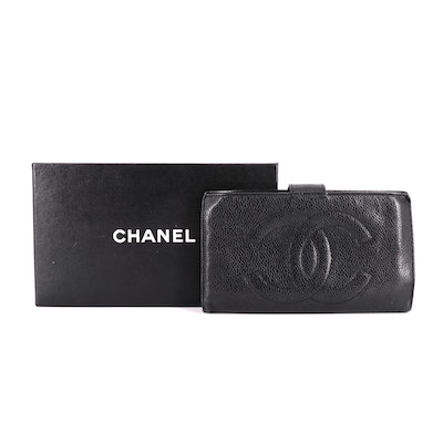 Chanel CC Continental Wallet in Black Caviar Leather with Box