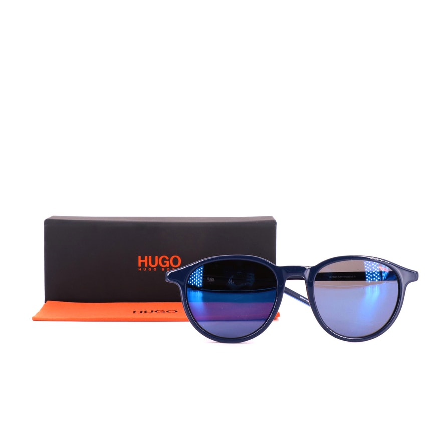 Hugo Boss HG 1028/S Navy Round Sunglasses with Box and Cleaning Cloth