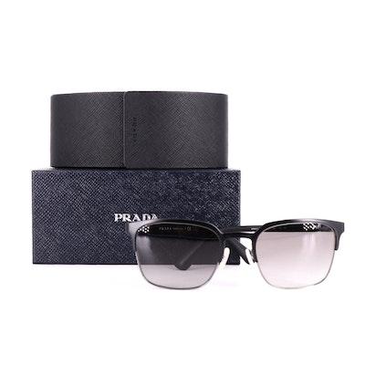 Men's Prada SPR61S Square Semi-Rimless Sunglasses with Case and Box