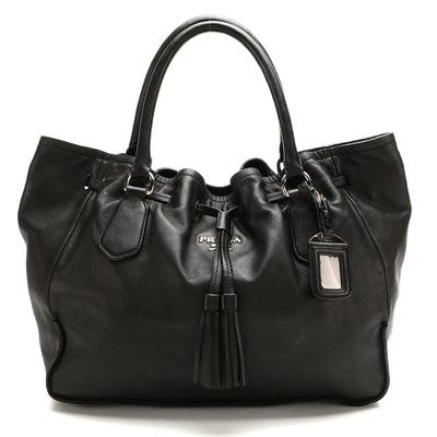 Prada Black Nappa Leather Sport Tote with Drawstring Tassels