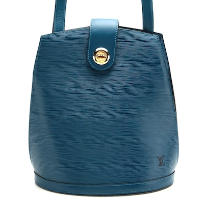 Louis Vuitton Cluny Bucket Bag in Epi and Smooth Leather