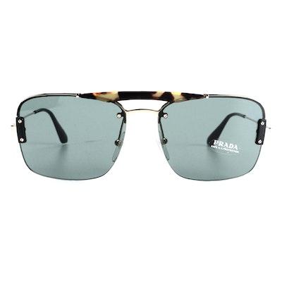 Prada SPR56V Square Rimless Sunglasses with Case