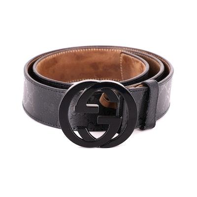 Men's Gucci GG Print Leather Belt with Interlocking GG Buckle