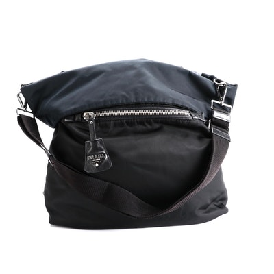Prada Reversible Messenger Bag in Black and Navy Tessuto Nylon