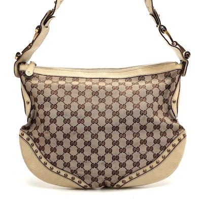 Gucci Pelham GG Canvas and Leather Grommet Web Strap Shoulder Bag
