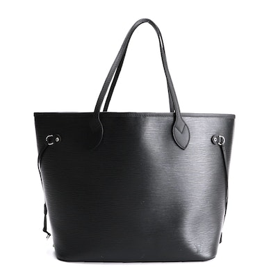 Louis Vuitton Neverfull MM in Black Epi Leather with Pochette
