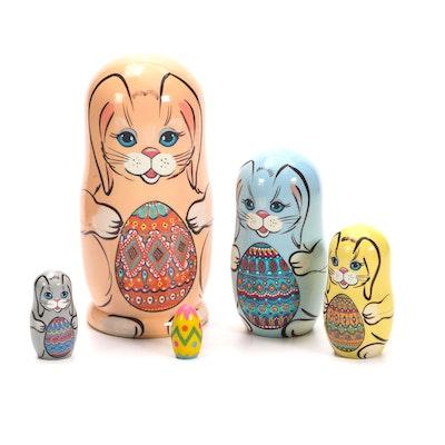 Handcrafted Russian Matryoshka Easter Bunny Nesting Dolls
