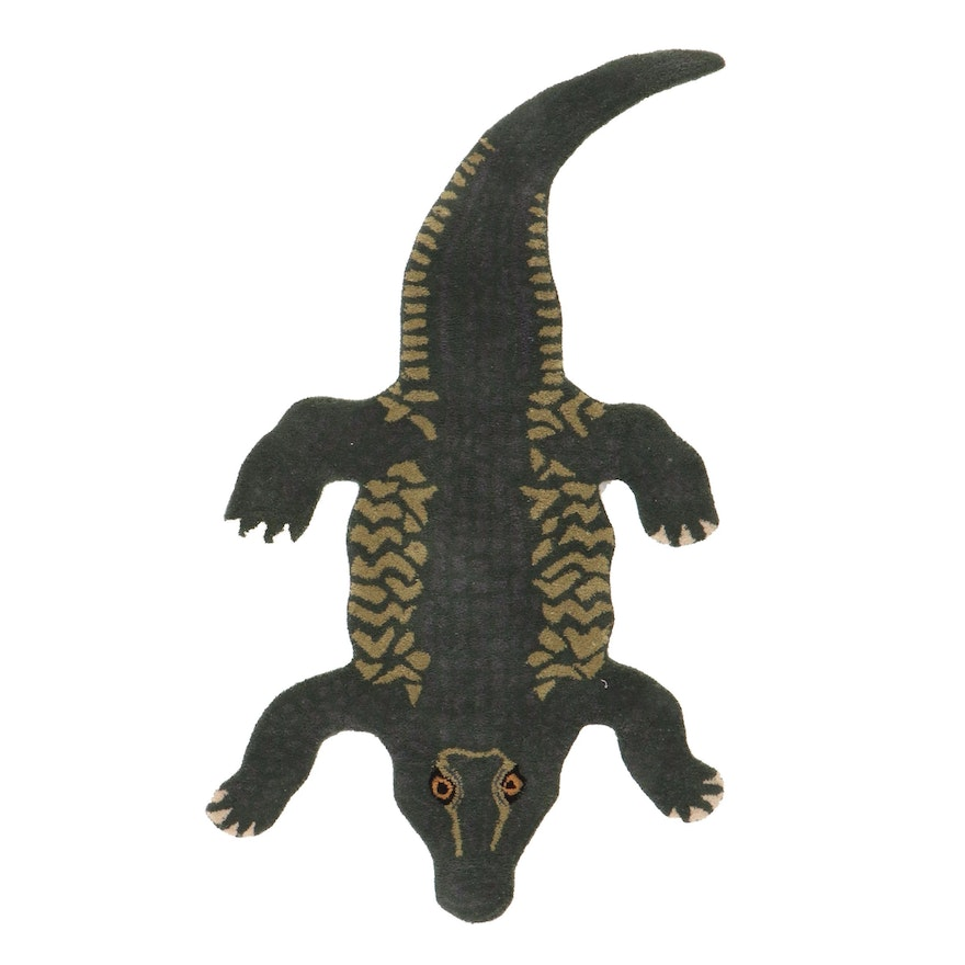 3' x 5'2 Hand-Tufted Crocodile Shaped Accent Rug, 2010s