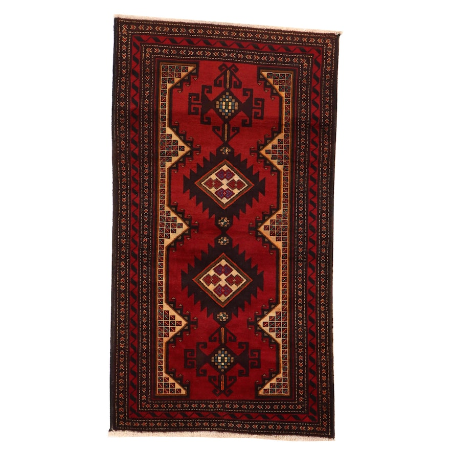 3'3 x 6' Hand-Knotted Afghan Rizbaft Area Rug