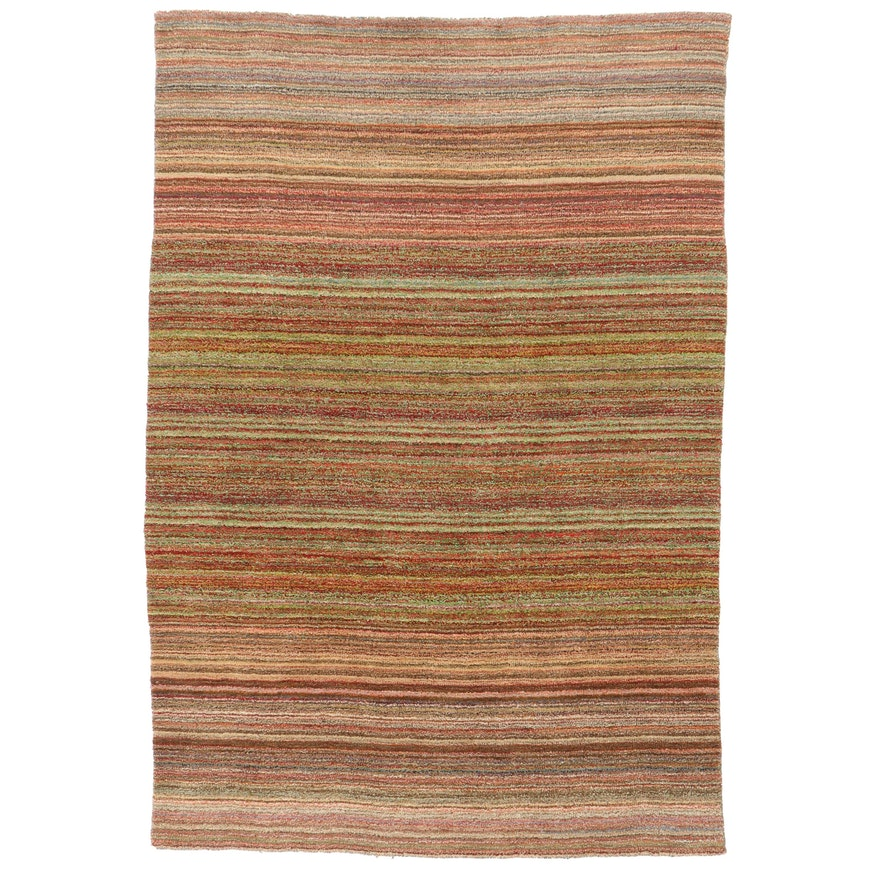 5'6 x 7'11 Hand-Knotted Striped Area Rug, 2000s