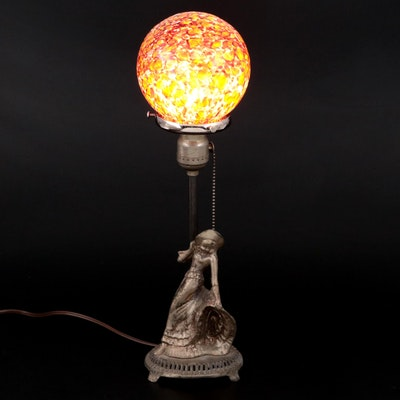 Art Deco Style Figural Globe Lamp, Early to Mid 20th Century